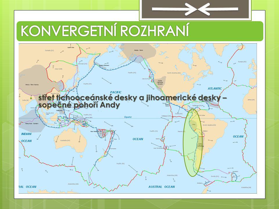 KONVERGETNÍ ROZHRANÍ střet tichooceánské desky a jihoamerické desky – sopečné pohoří Andy