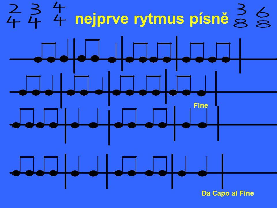 nejprve rytmus písně Fine Da Capo al Fine