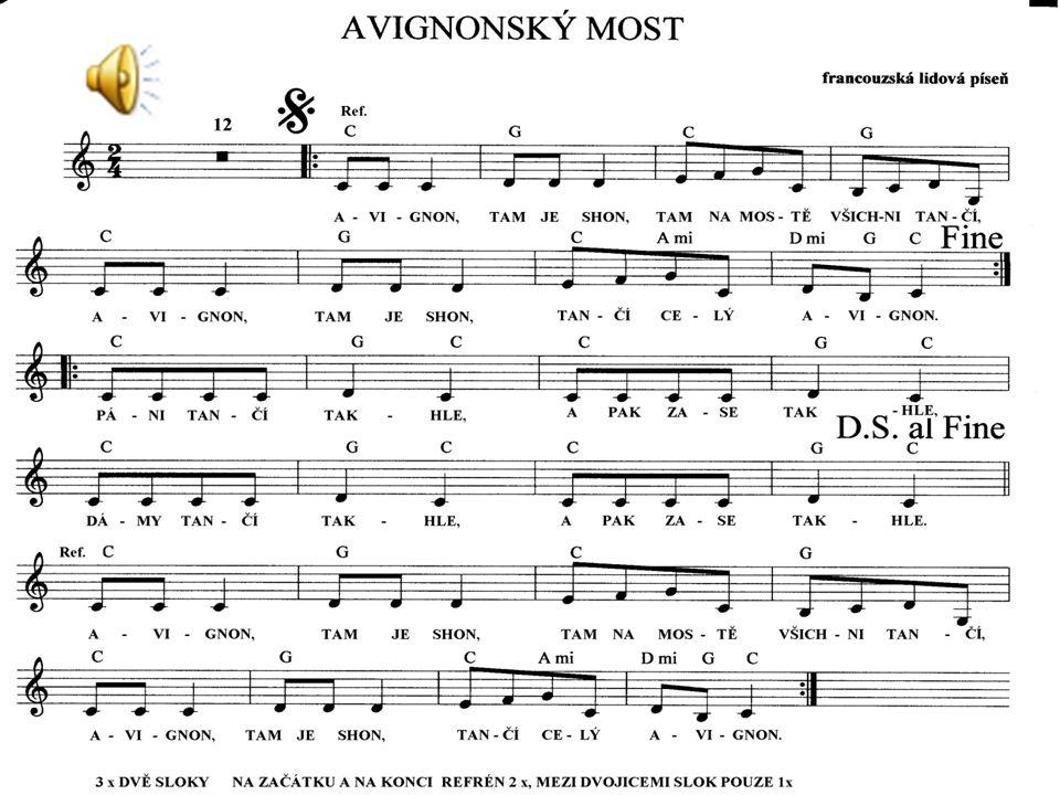 """Nácvik písně """" Avignonský most podle notového zápisu"""