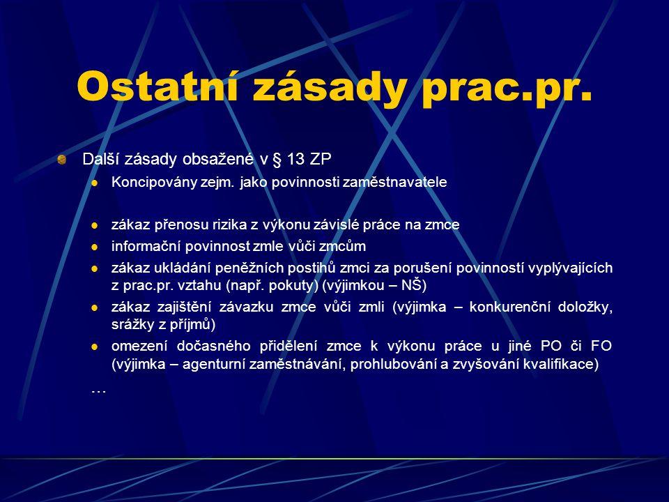 Ostatní zásady prac.pr. Další zásady obsažené v § 13 ZP …