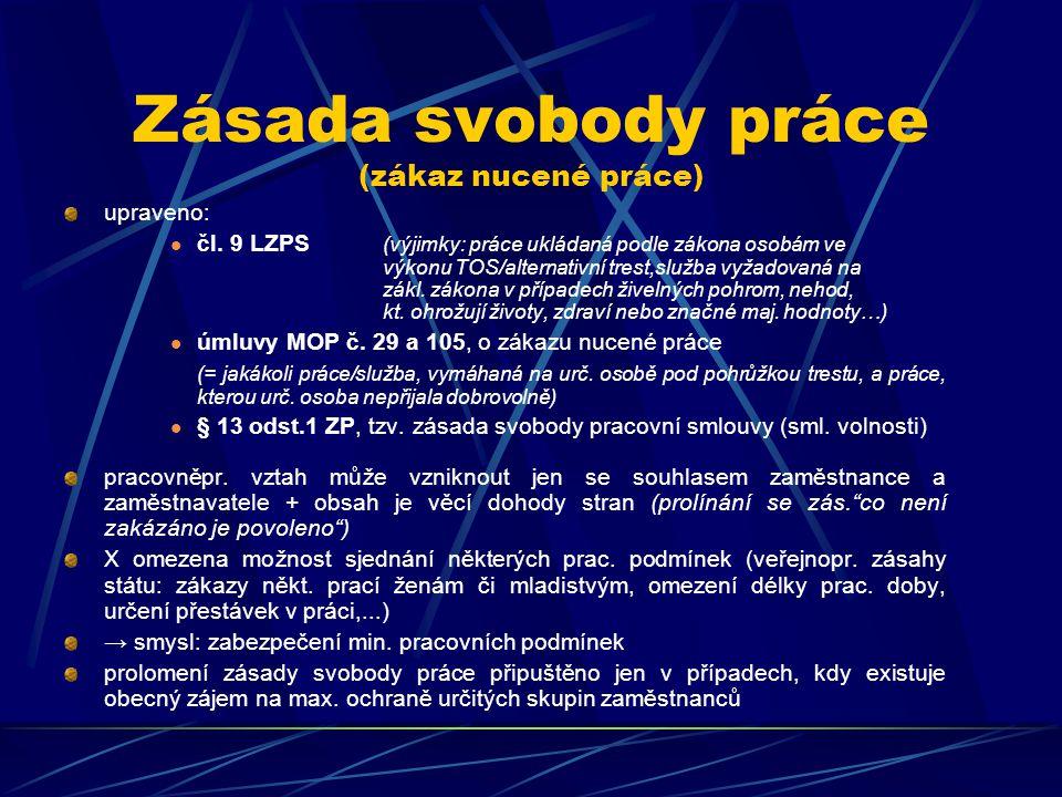 Zásada svobody práce (zákaz nucené práce)