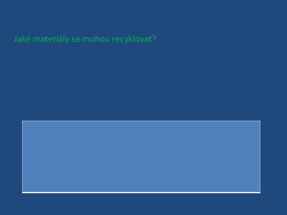 Jaké materiály se mohou recyklovat