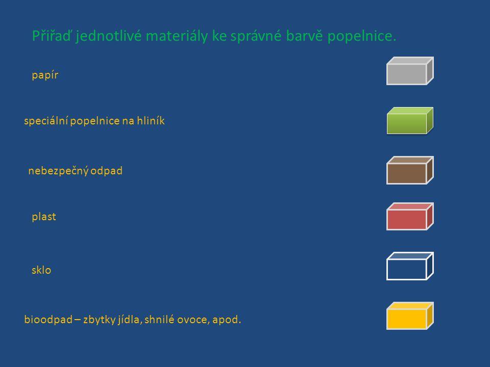 Přiřaď jednotlivé materiály ke správné barvě popelnice.