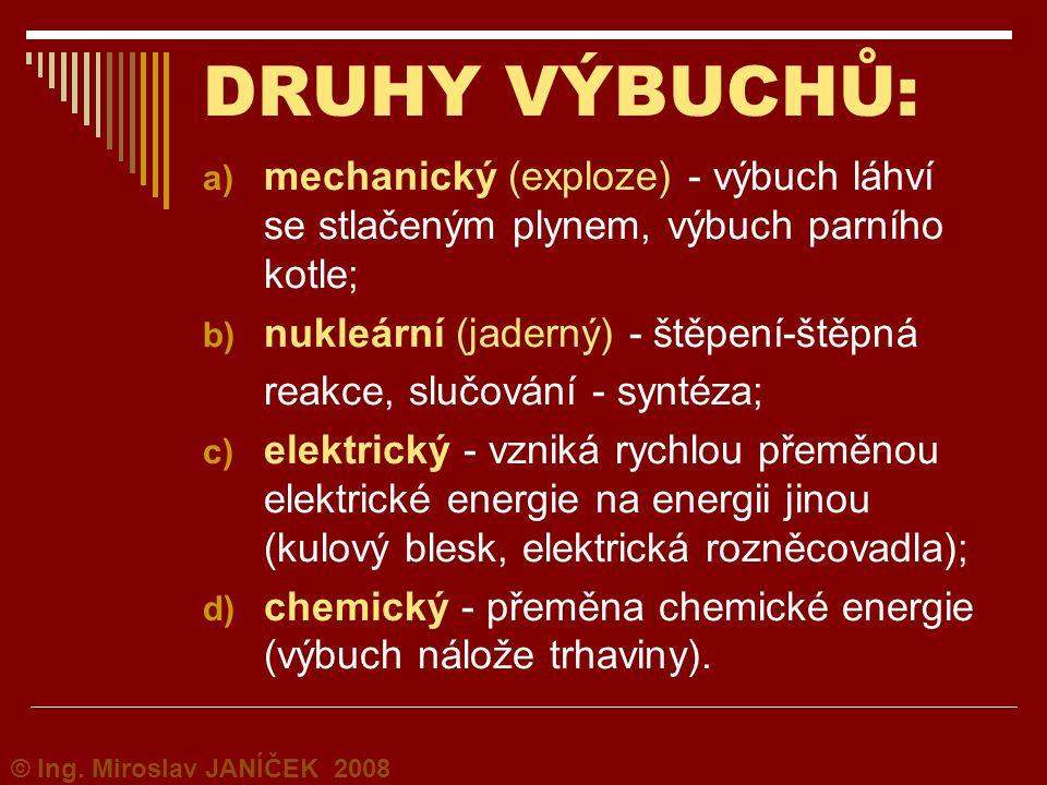 DRUHY VÝBUCHŮ: mechanický (exploze) - výbuch láhví se stlačeným plynem, výbuch parního kotle; nukleární (jaderný) - štěpení-štěpná.