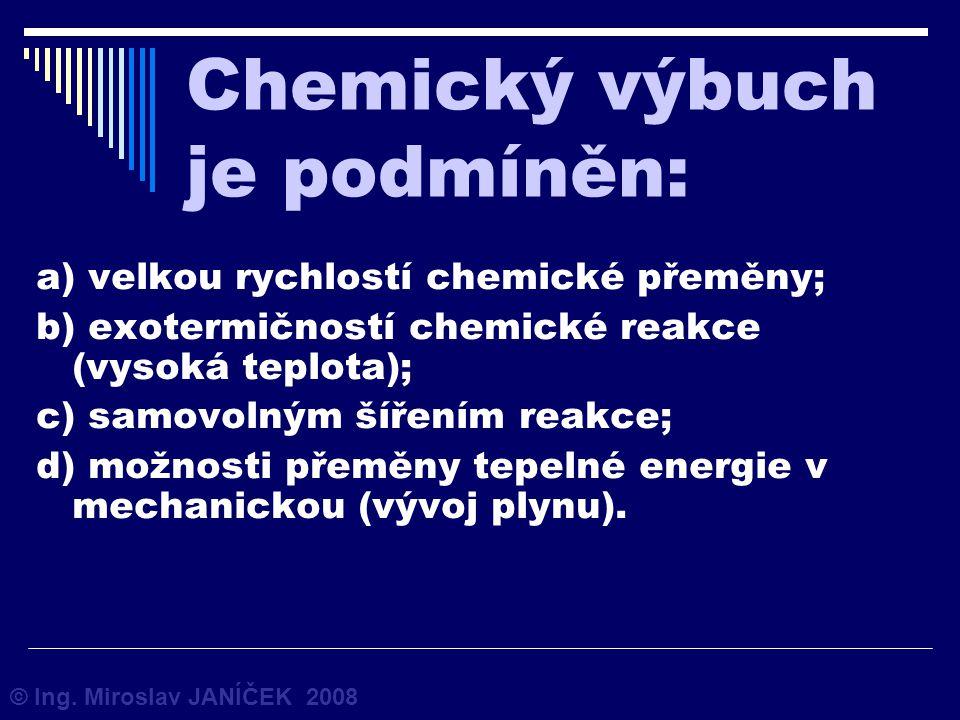 Chemický výbuch je podmíněn: