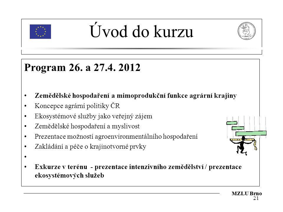 Úvod do kurzu Program 26. a 27.4. 2012. Zemědělské hospodaření a mimoprodukční funkce agrární krajiny.