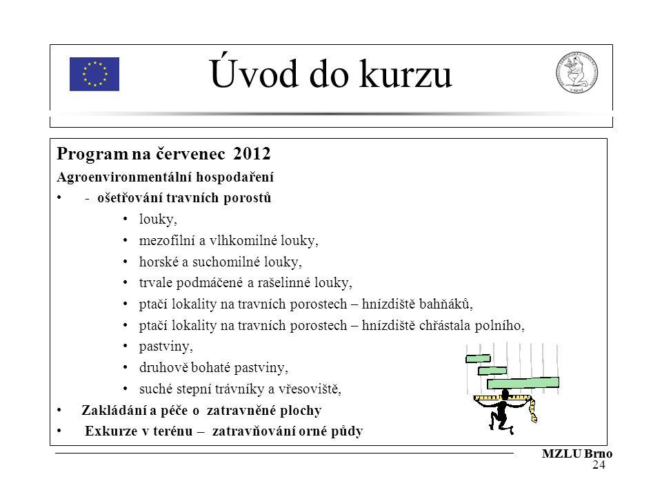 Úvod do kurzu Program na červenec 2012 Agroenvironmentální hospodaření