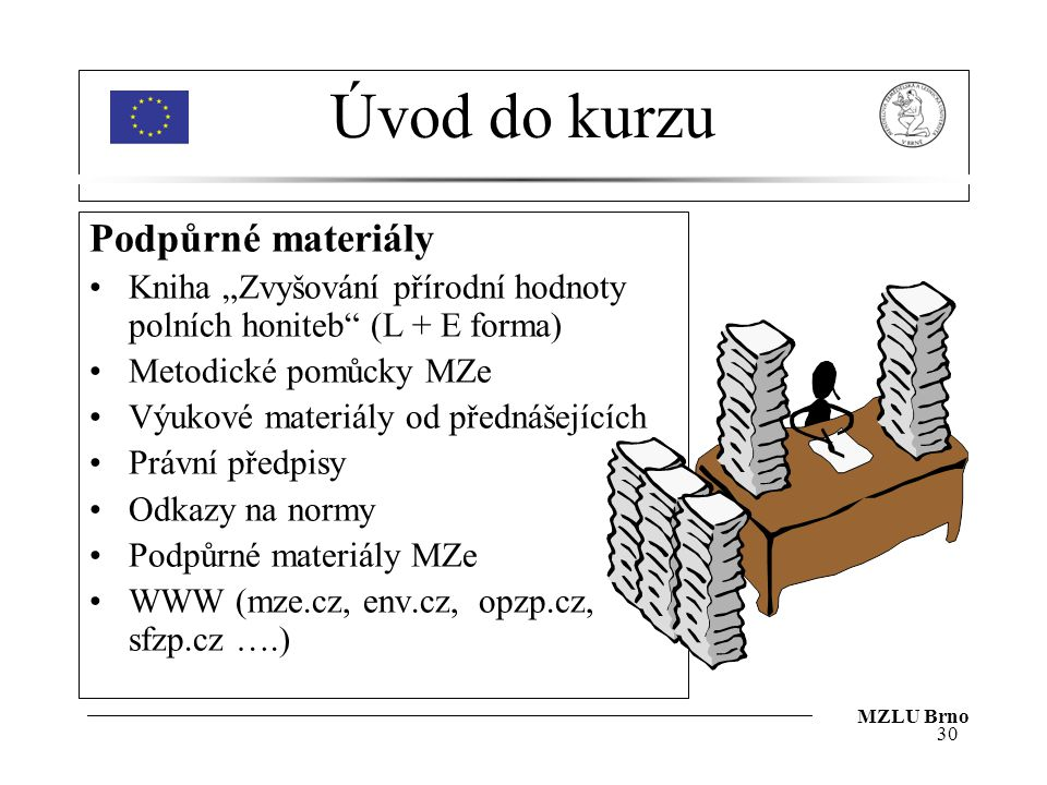 Úvod do kurzu Podpůrné materiály