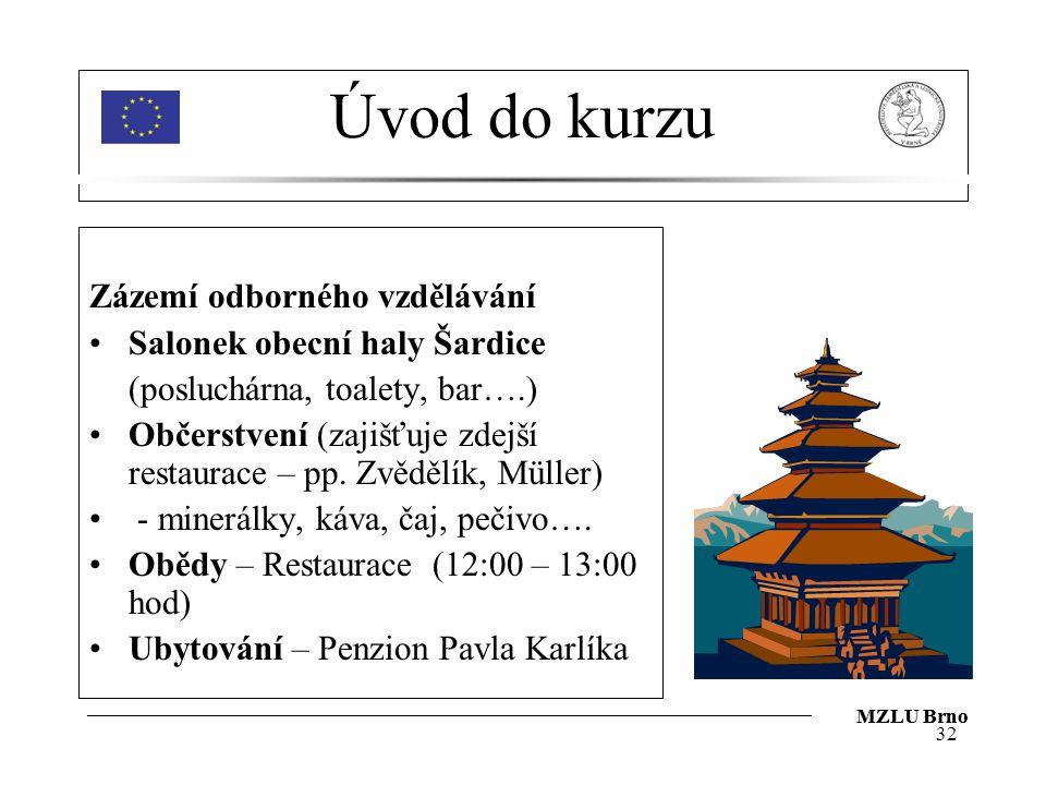 Úvod do kurzu Zázemí odborného vzdělávání Salonek obecní haly Šardice
