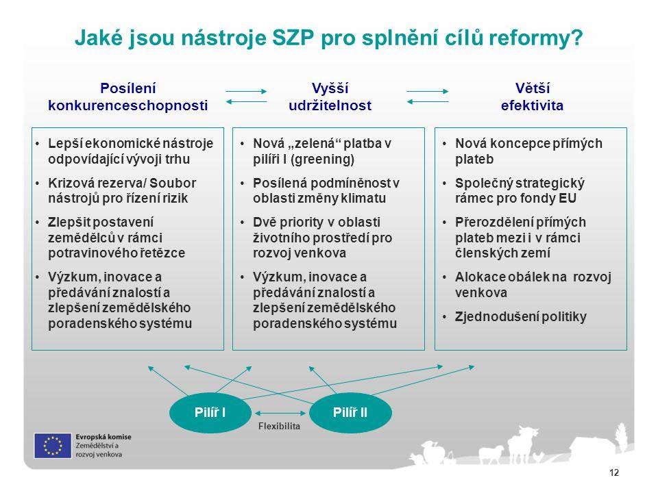 Jaké jsou nástroje SZP pro splnění cílů reformy