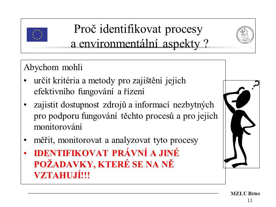 Proč identifikovat procesy a environmentální aspekty