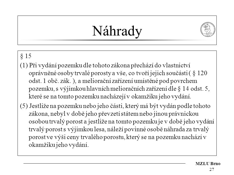 Náhrady § 15.