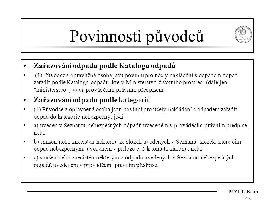 Povinnosti původců Zařazování odpadu podle Katalogu odpadů