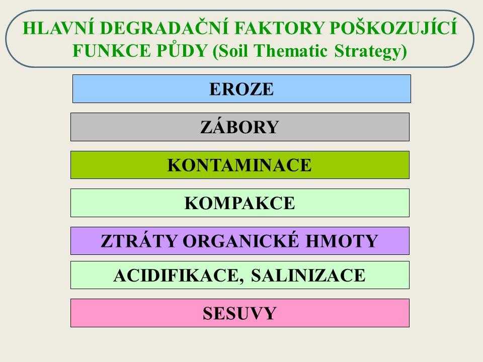ZTRÁTY ORGANICKÉ HMOTY ACIDIFIKACE, SALINIZACE