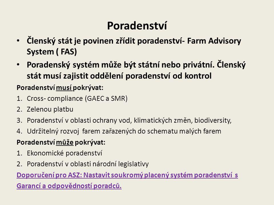Poradenství Členský stát je povinen zřídit poradenství- Farm Advisory System ( FAS)