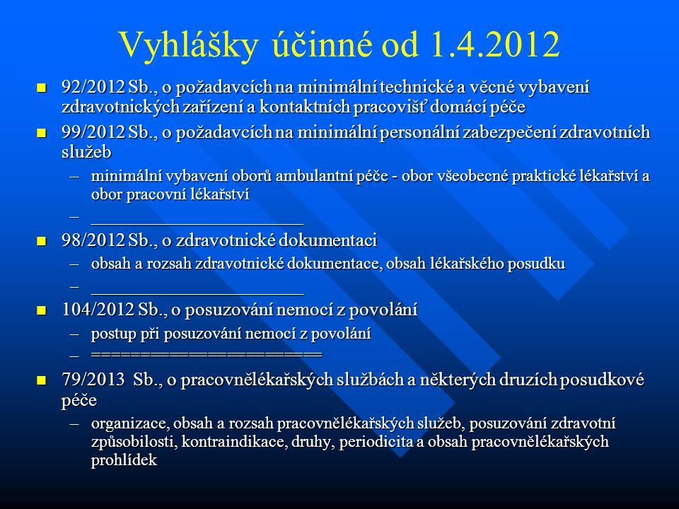 Vyhlášky účinné od 1.4.2012
