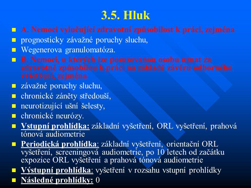 3.5. Hluk A. Nemoci vylučující zdravotní způsobilost k práci, zejména