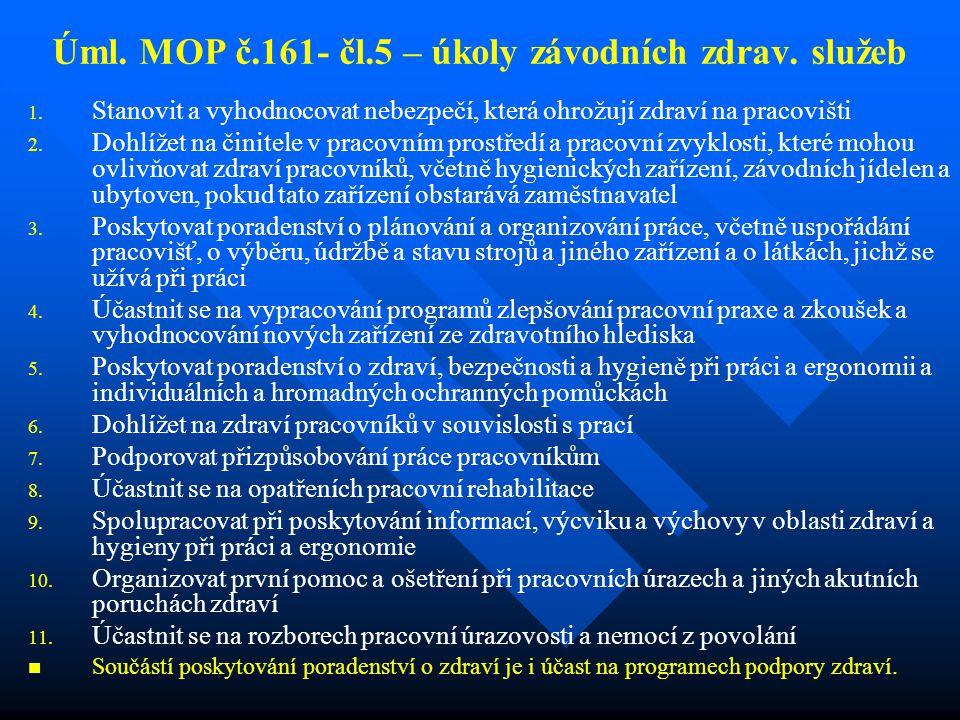 Úml. MOP č.161- čl.5 – úkoly závodních zdrav. služeb