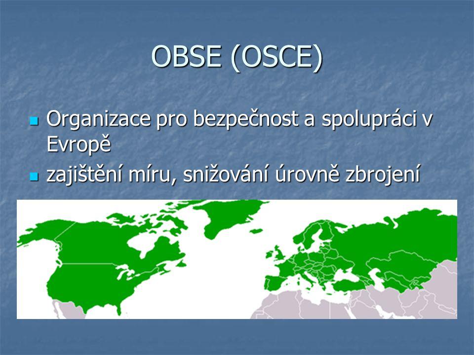 OBSE (OSCE) Organizace pro bezpečnost a spolupráci v Evropě