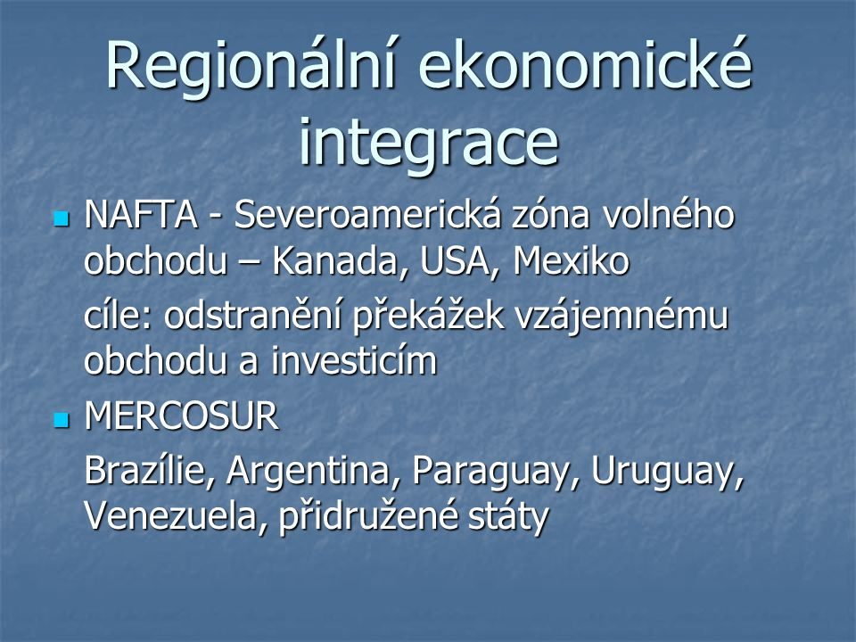 Regionální ekonomické integrace