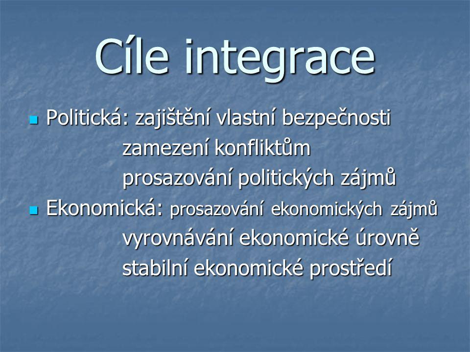 Cíle integrace Politická: zajištění vlastní bezpečnosti
