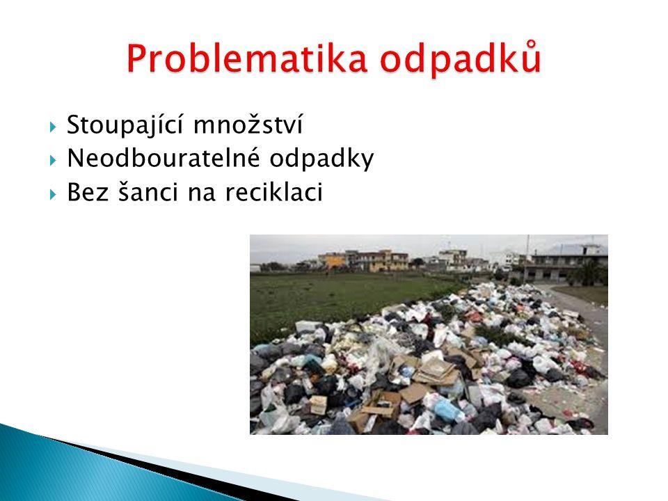 Problematika odpadků Stoupající množství Neodbouratelné odpadky