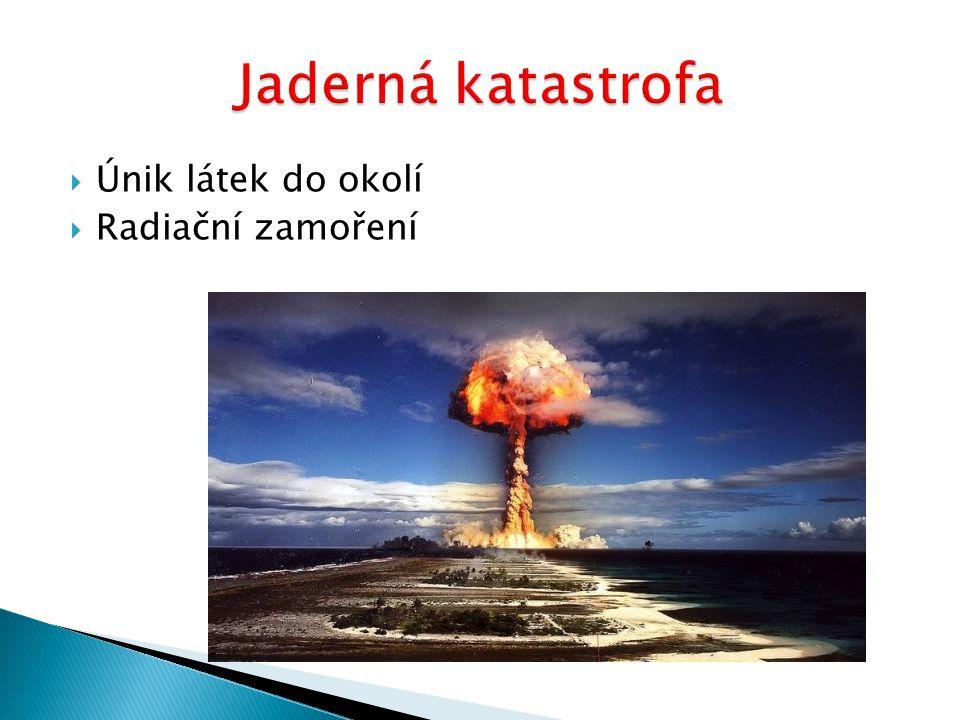 Jaderná katastrofa Únik látek do okolí Radiační zamoření