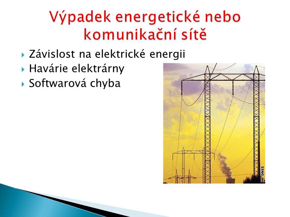 Výpadek energetické nebo komunikační sítě