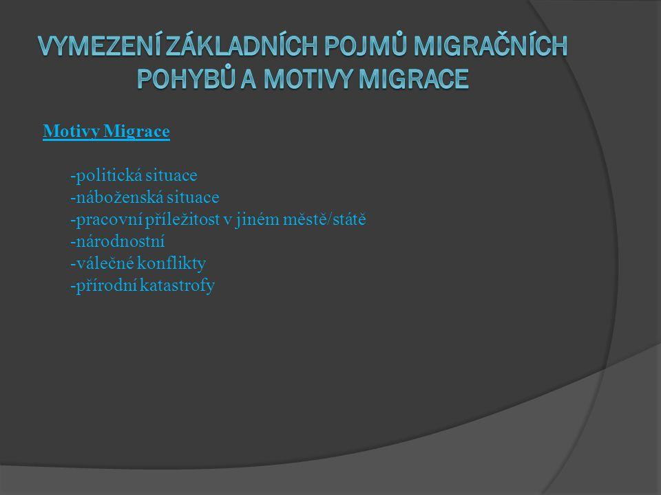 vymezení základních pojmů migračních pohybů a motivy migrace