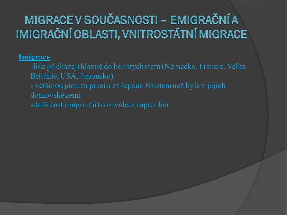 migrace v současnosti – emigrační a imigrační oblasti, vnitrostátní migrace