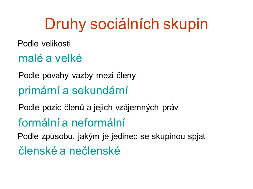 Druhy sociálních skupin
