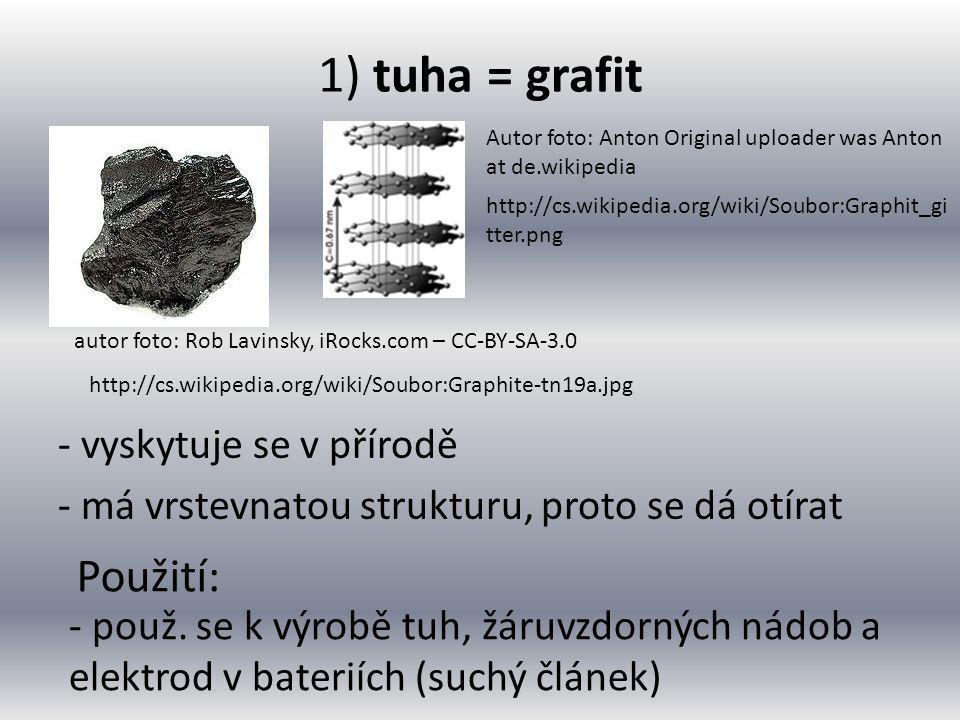1) tuha = grafit Použití: