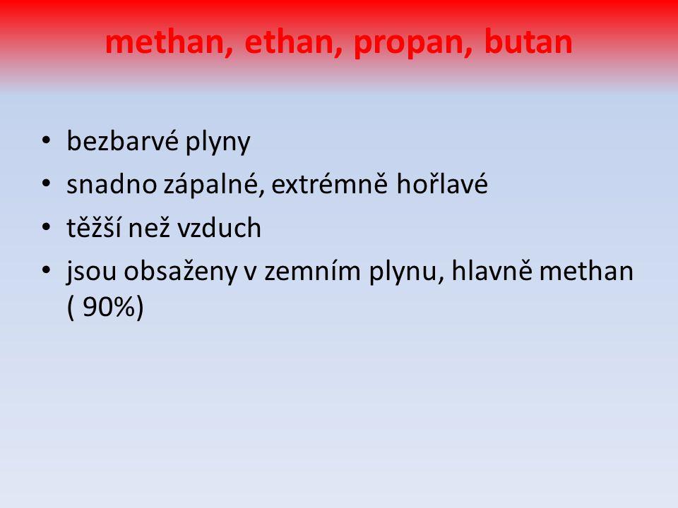 methan, ethan, propan, butan