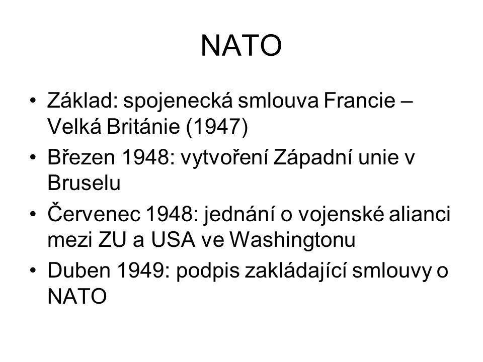 NATO Základ: spojenecká smlouva Francie – Velká Británie (1947)