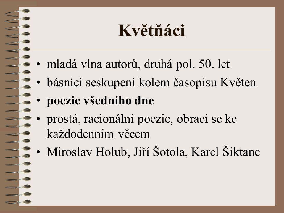 Květňáci mladá vlna autorů, druhá pol. 50. let