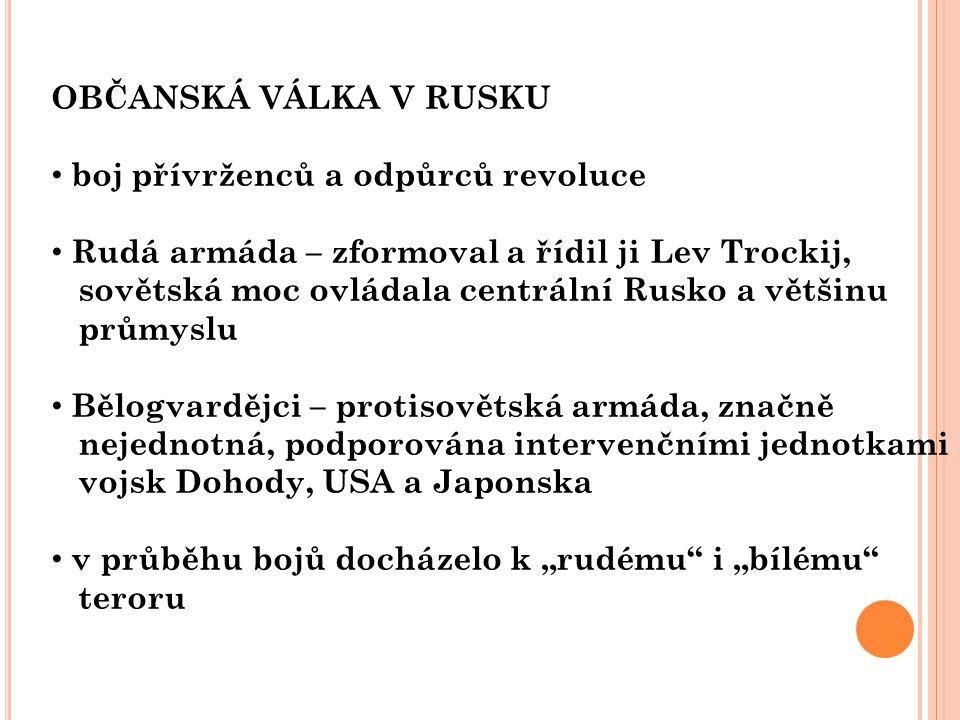 OBČANSKÁ VÁLKA V RUSKU boj přívrženců a odpůrců revoluce. Rudá armáda – zformoval a řídil ji Lev Trockij,