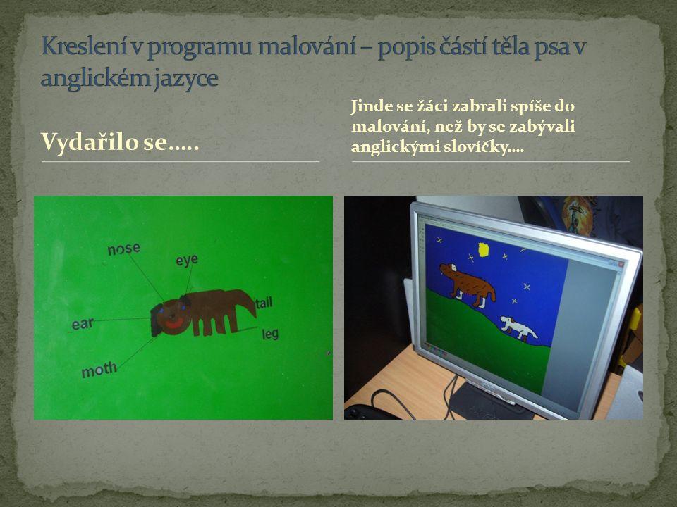 Kreslení v programu malování – popis částí těla psa v anglickém jazyce