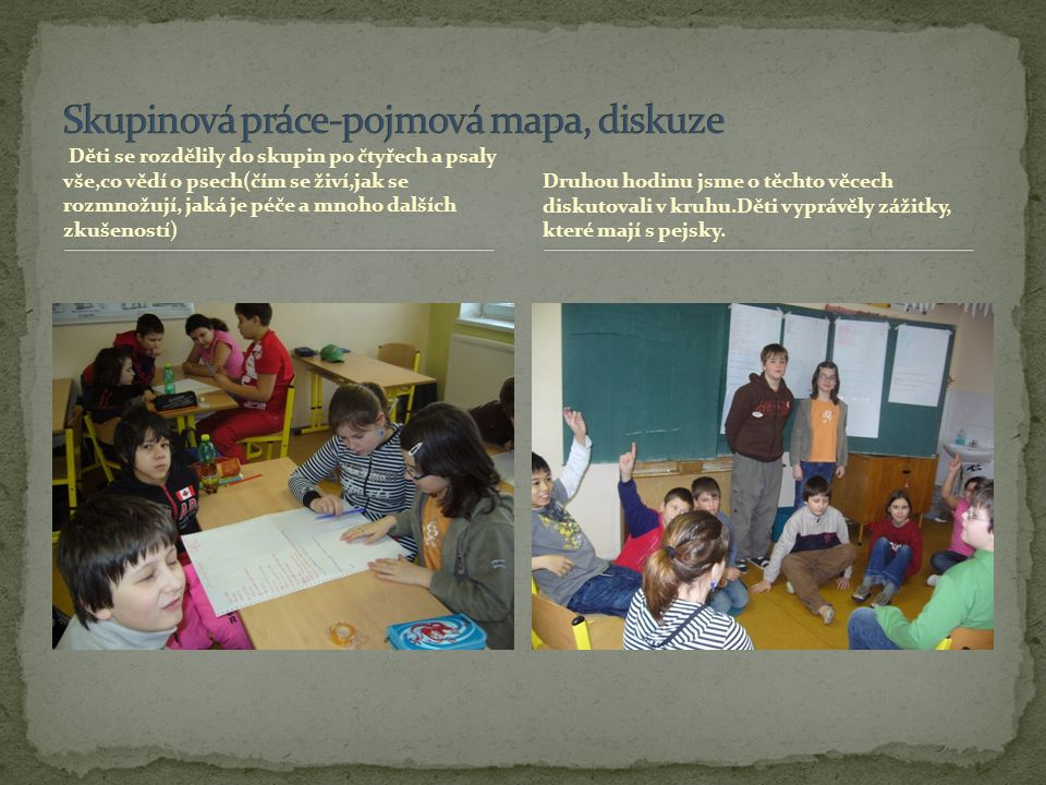 Skupinová práce-pojmová mapa, diskuze