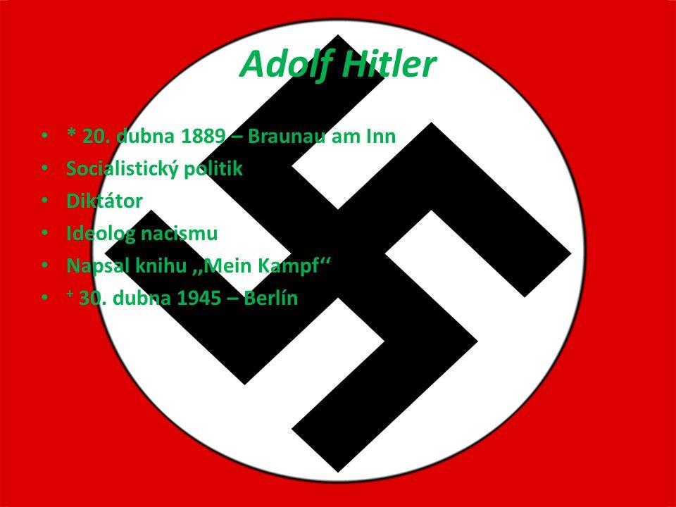 Adolf Hitler * 20. dubna 1889 – Braunau am Inn Socialistický politik