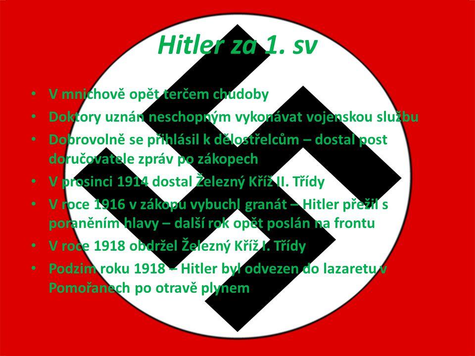 Hitler za 1. sv V mnichově opět terčem chudoby