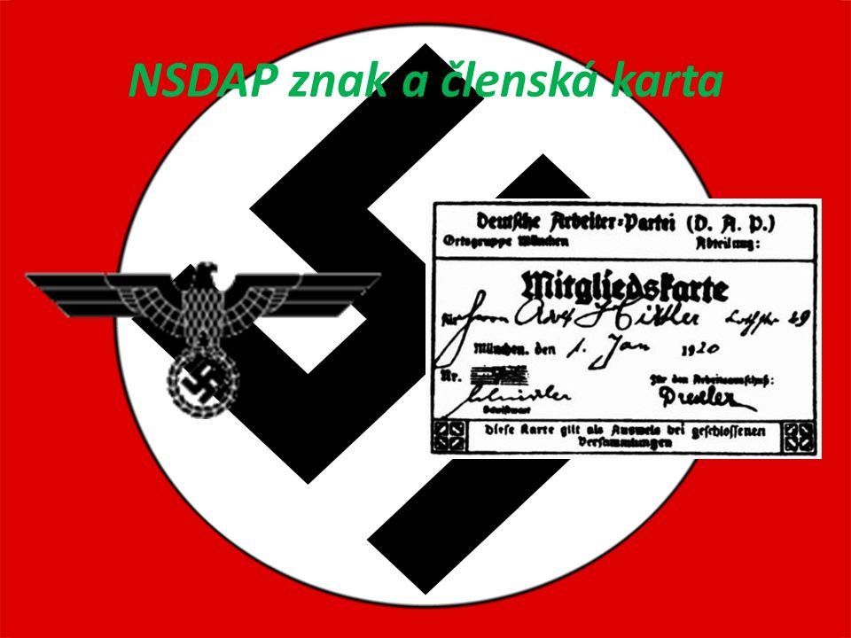 NSDAP znak a členská karta