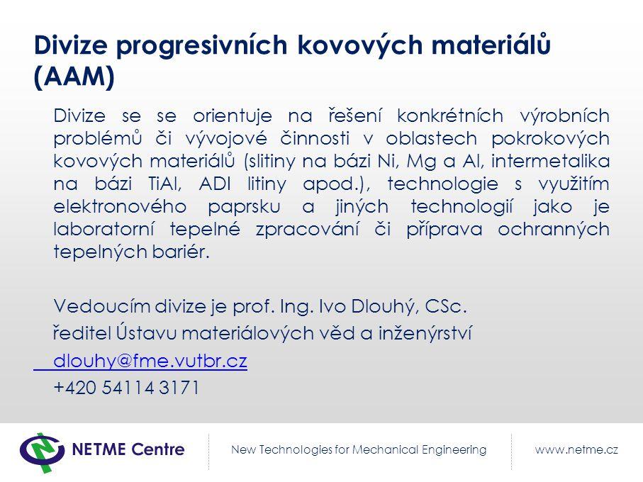Divize progresivních kovových materiálů (AAM)