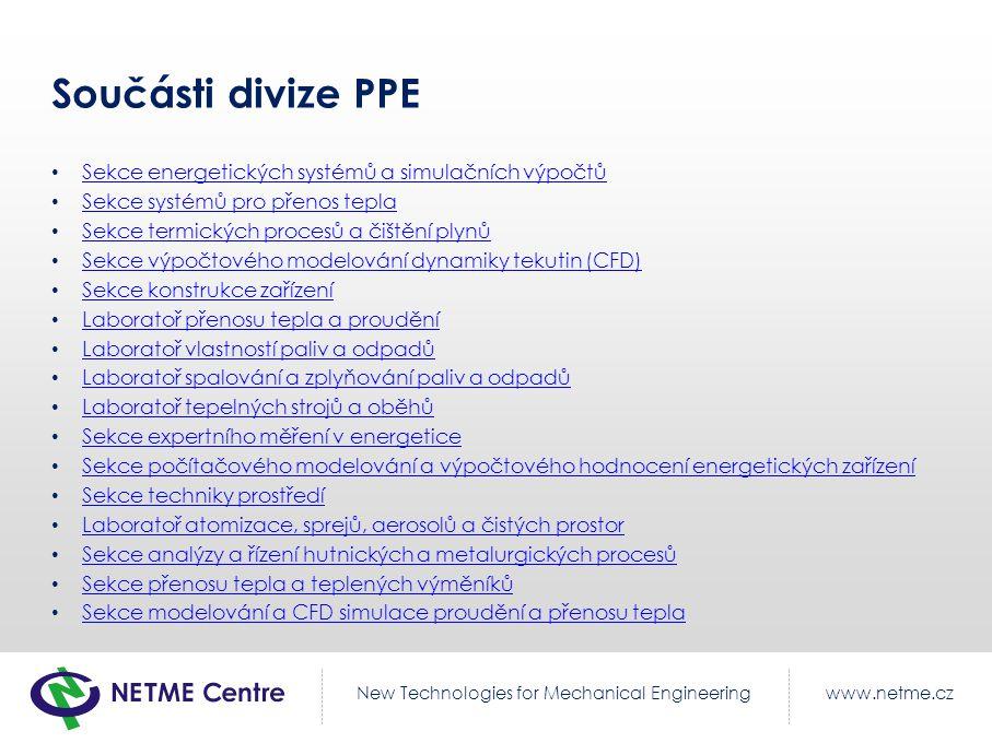 Součásti divize PPE Sekce energetických systémů a simulačních výpočtů