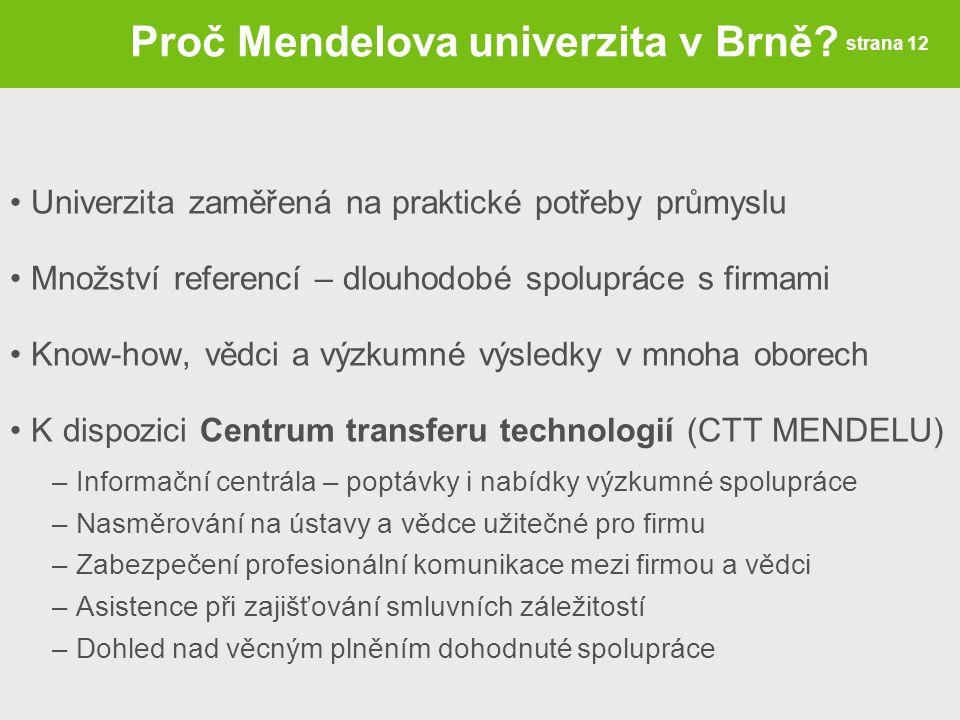 Proč Mendelova univerzita v Brně