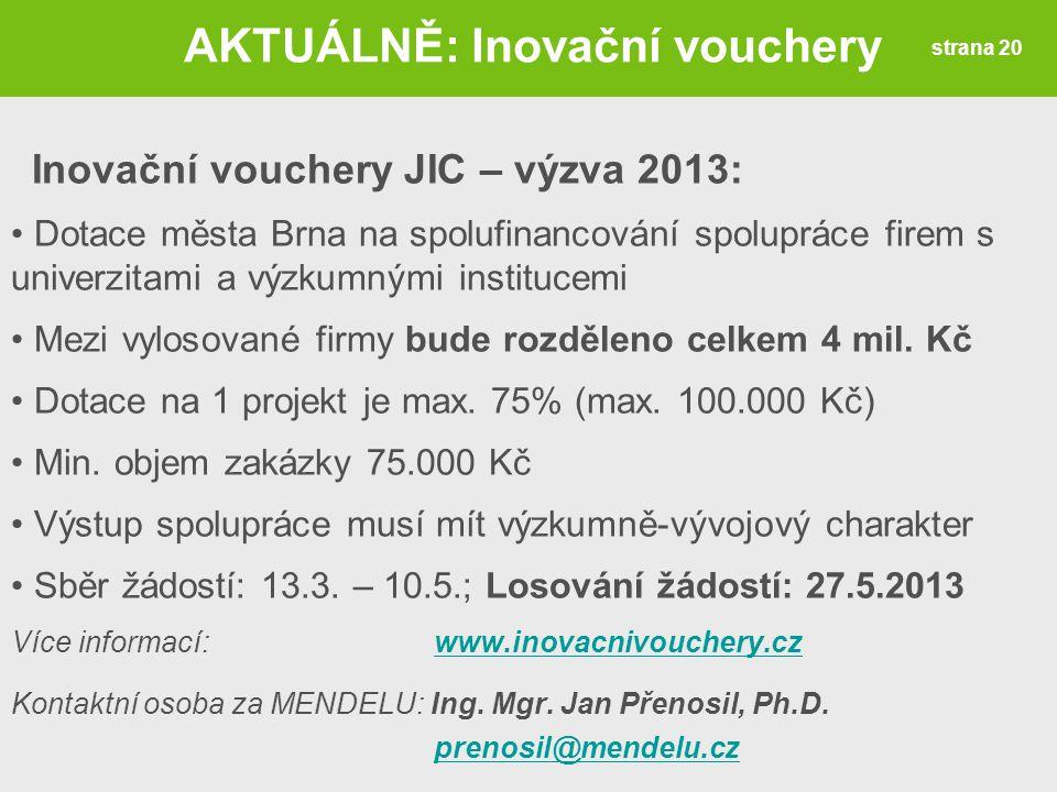 AKTUÁLNĚ: Inovační vouchery