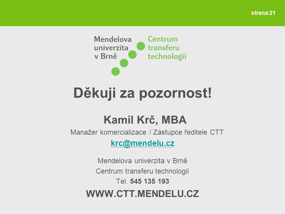 Děkuji za pozornost! Kamil Krč, MBA WWW.CTT.MENDELU.CZ krc@mendelu.cz