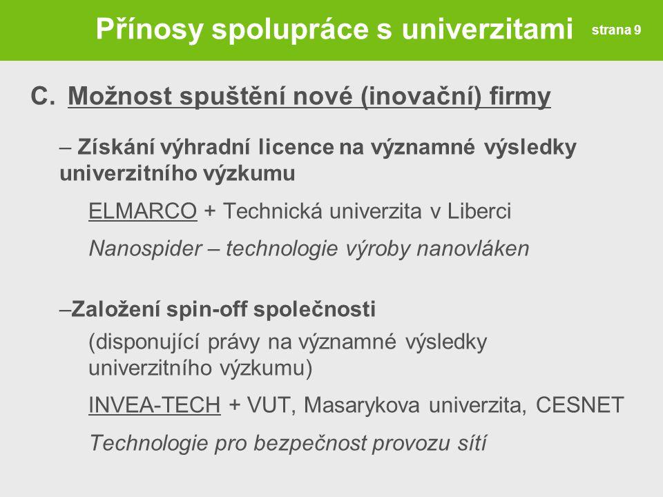 Přínosy spolupráce s univerzitami