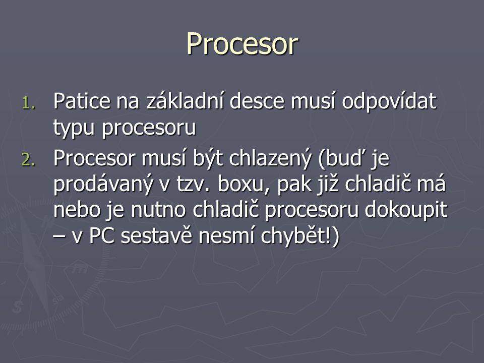 Procesor Patice na základní desce musí odpovídat typu procesoru