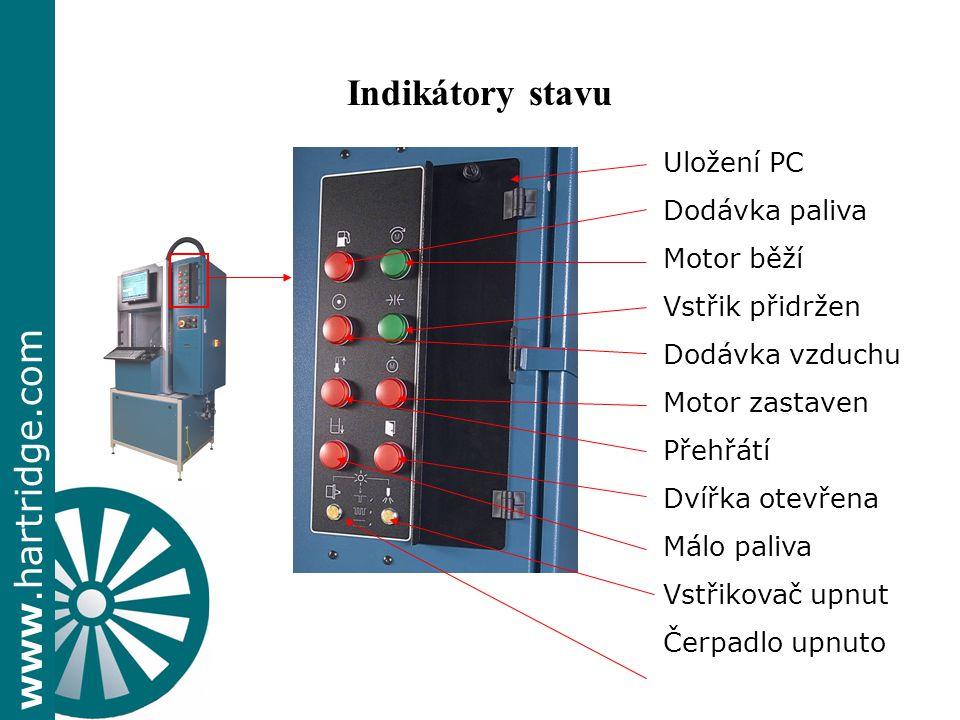 Indikátory stavu Uložení PC Dodávka paliva Motor běží Vstřik přidržen