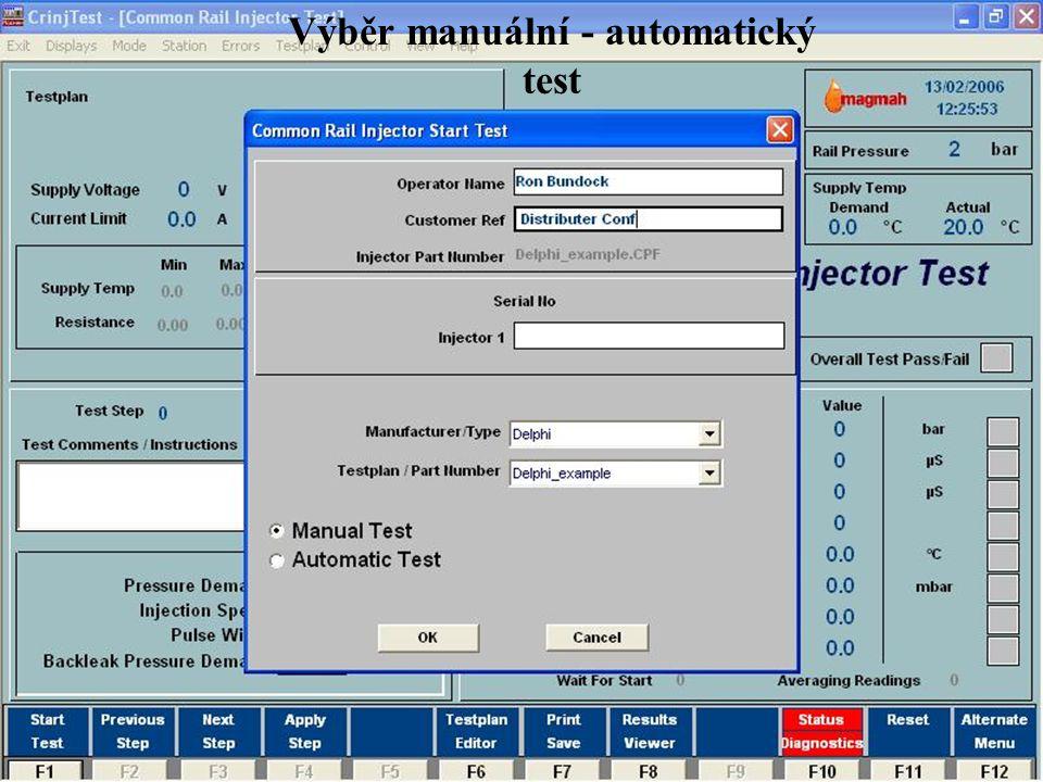 Výběr manuální - automatický test